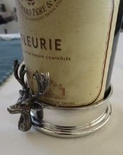 Pewter and Real Hardwood Stags Head Bottle Coaster